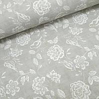 Водоотталкивающая ткань Duck белые розы на сером