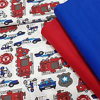 Хлопковая ткань польская красно-синие пожарные и полицейские машины на белом
