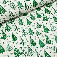 Хлопковая ткань польская зеленые елочки на белом