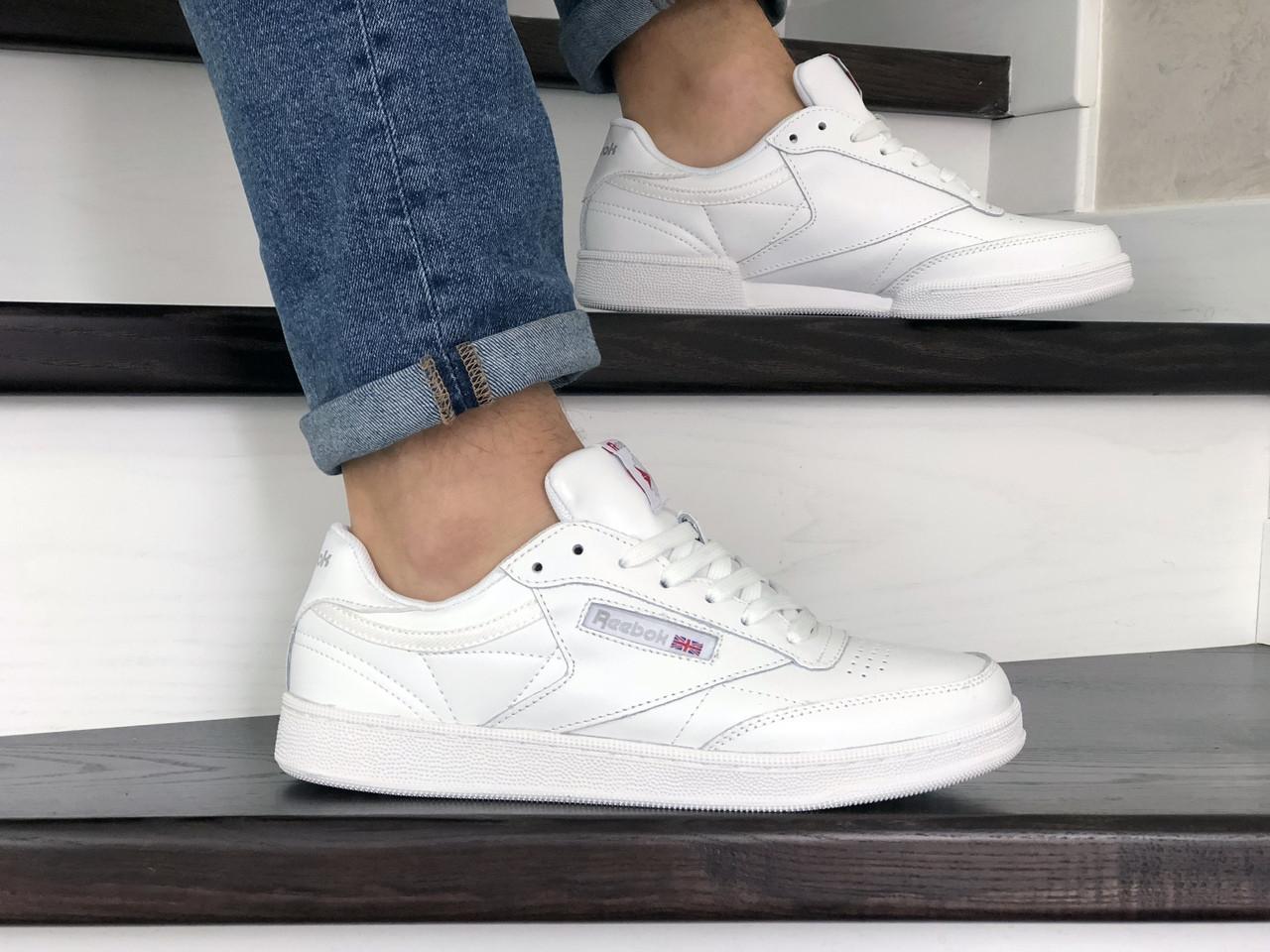 Мужские кроссовки Reebok,кожаные,белые