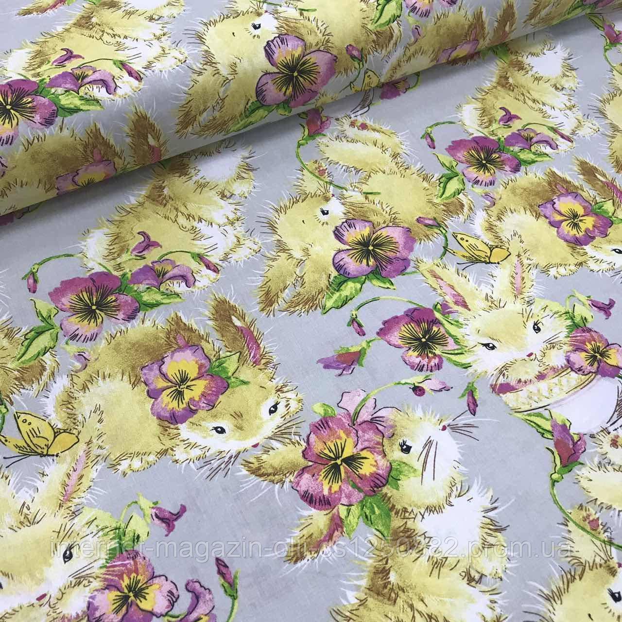 Хлопковая ткань польская кролики с цветами на сером ОТРЕЗ (0.9*1.6)