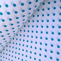 Хлопковая ткань средний бирюзовый горох на белом 10 мм (1 см), фото 1