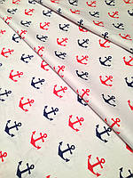 Хлопковая ткань польская якоря сине-красные № 217d