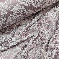 Ткань сатин с рисунком, дамаск белый на светло-бордовом (ТУРЦИЯ шир. 2,4 м)