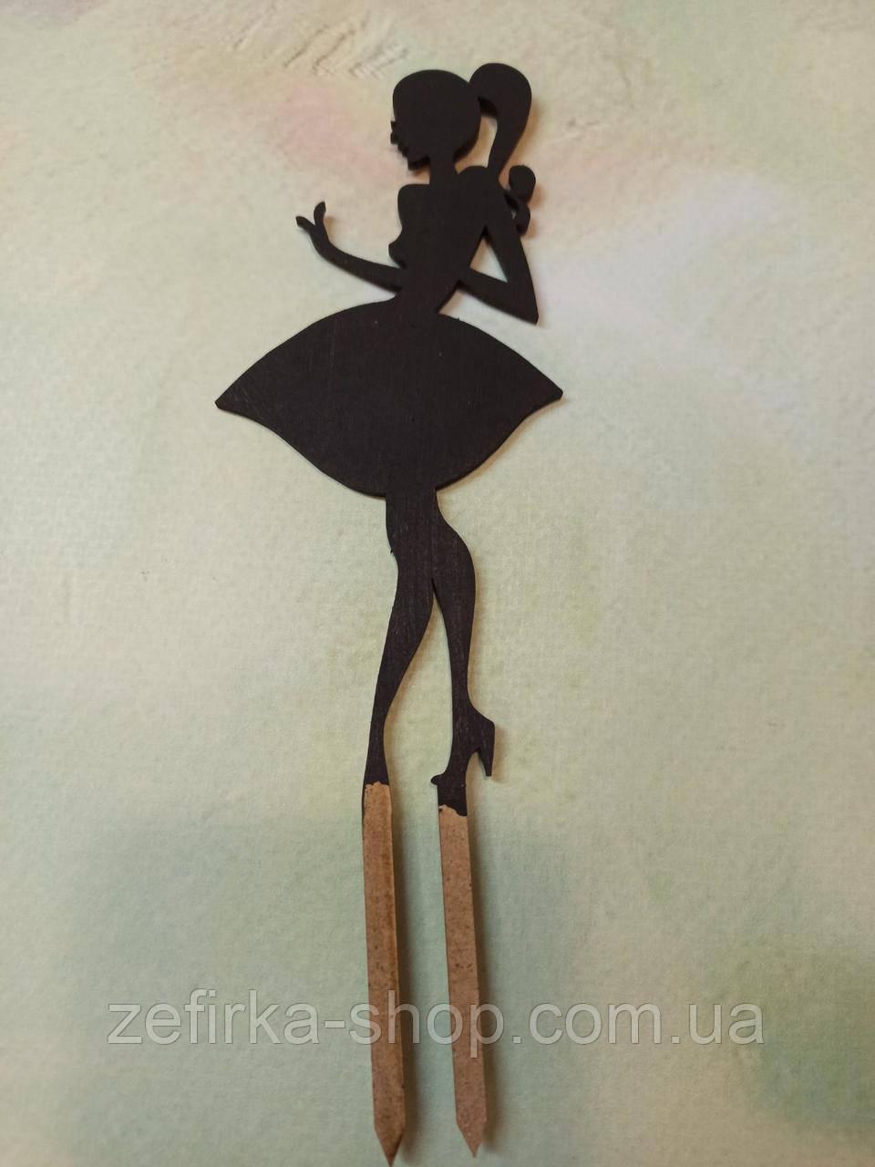 Топпер на торт девушка модница, черный