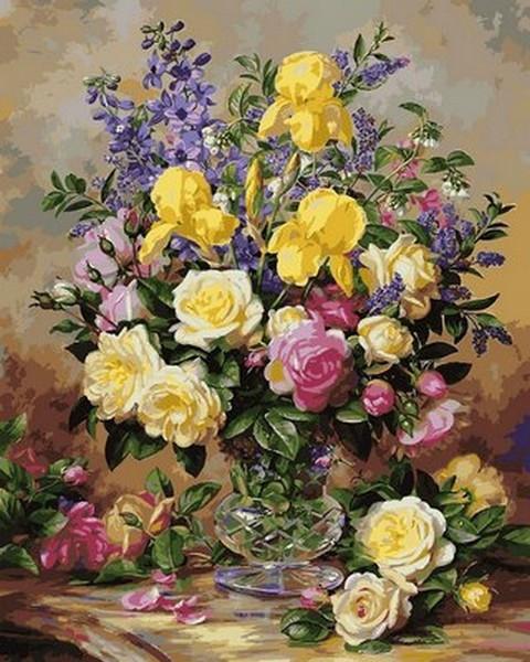 Картина по номерам 65х50см Babylon Turbo Желтые ирисы и розы
