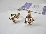 Сережки золоті з фіанітами 3.41 грама ЗОЛОТО 585 проби, фото 3