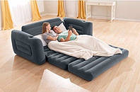 Надувной раскладной велюровый диван-кровать 66552 Intex (203х224х66см)