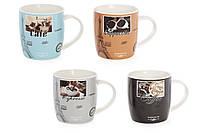 """Чашка керам. 375 мл """"Французська кава"""" 4 види 334-419/Bonadi"""
