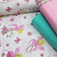Хлопковая ткань (ТУРЦИЯ шир. 2,4 м) феи с ярко-розовыми крыльями, фото 1