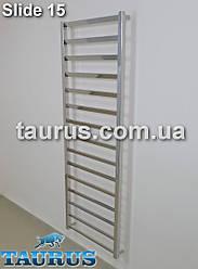 Большой высокий нержавеющий полотенцесушитель с развёрнутой перемычкой на 30 градусов - Slide 15/1550x500 мм