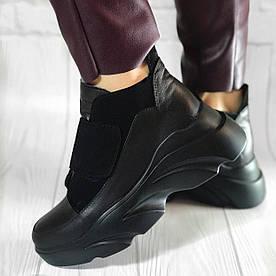 Кожаные кроссовки на липучке, цвет черный