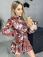 Платье мини  романтичное цветочный принт Ткань софт, фото 1