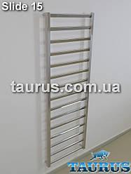 Вузький і високий полотенцесушитель Slide 15 /1550х400мм. від TAURUS. Водяний + електро + гібрид. Плоскі трубки