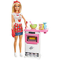 Кукла барби кондитер пекарь Barbie Bakery Chef Doll Cooking Baking Chef, блондинка шеф повар с плитой оригинал
