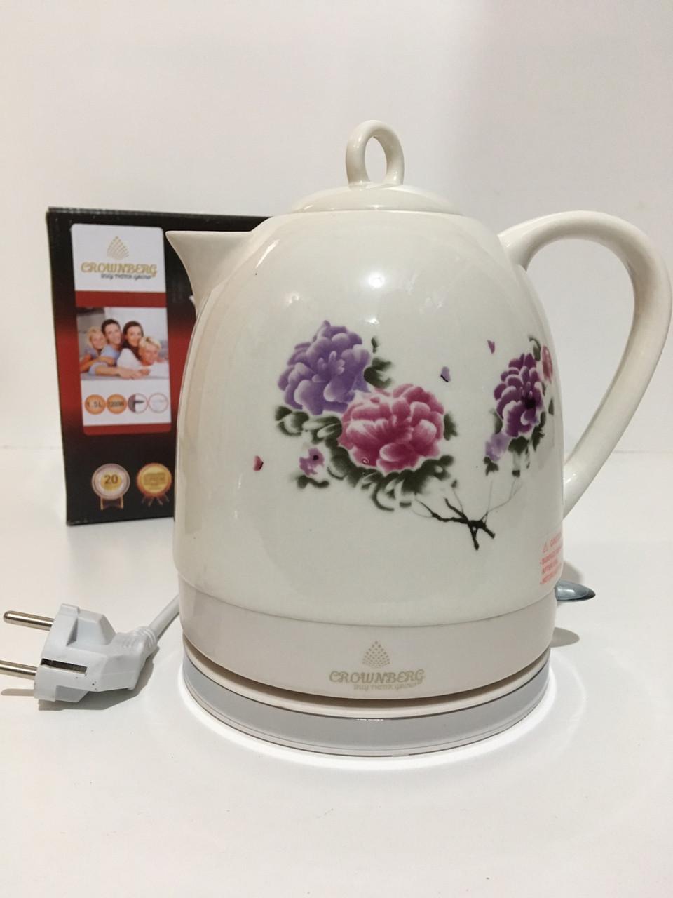 Электрический чайник Crownberg Ceramic CB 9111 керамический, 1,5L CG16 PR4