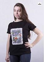 Футболка женская черная летняя молодежная трикотажная 42-50