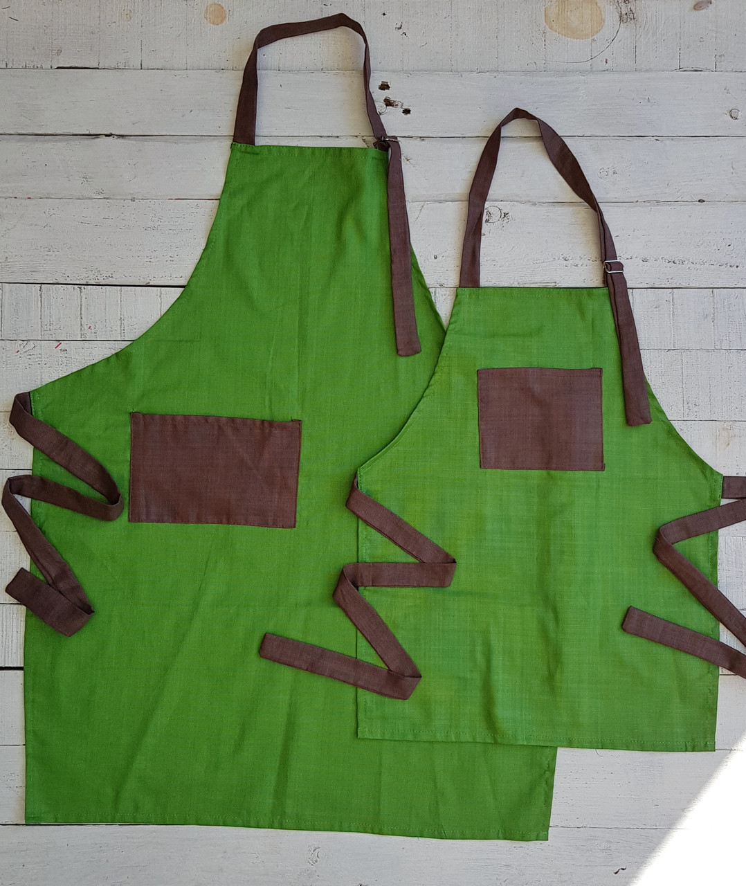 Фартуки Мама - Сын   , зеленый набор