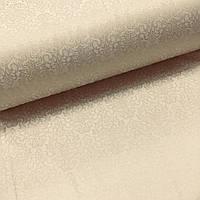 Ткань сатин с рисунком, дамаск светло-бежевый на бежевом (ТУРЦИЯ шир. 2,4 м) ОТРЕЗ (0.45*2.4), фото 1