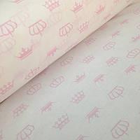 Хлопковая ткань польская розовые короны на белом № 327