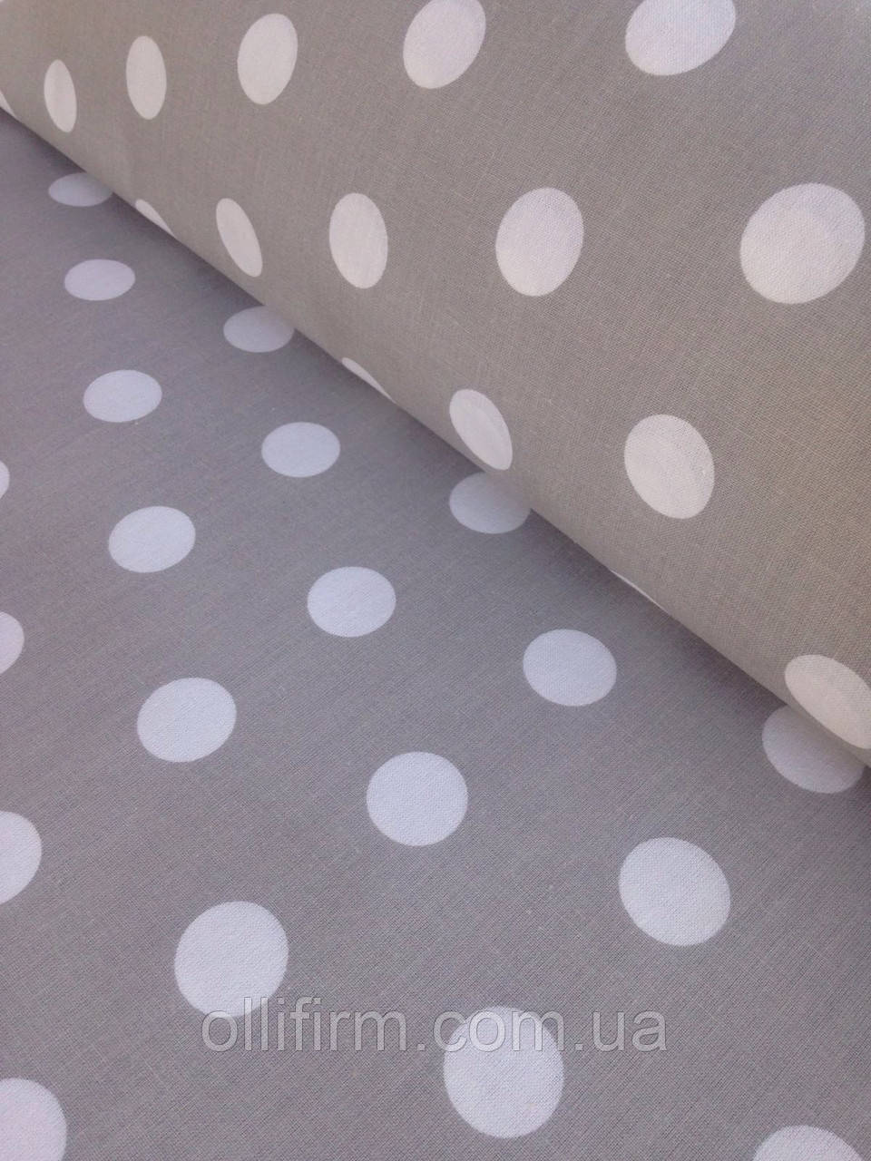 Хлопковая ткань польская горох крупный 22 мм белый на сером № 335