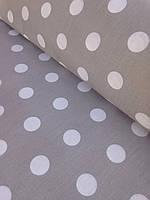 Хлопковая ткань польская горох крупный 22 мм белый на сером № 335, фото 1