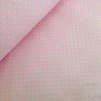 Хлопковая ткань польская белый горох на светло  розовом 4мм