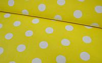 Хлопковая ткань польская белый горох 22 мм на желтом