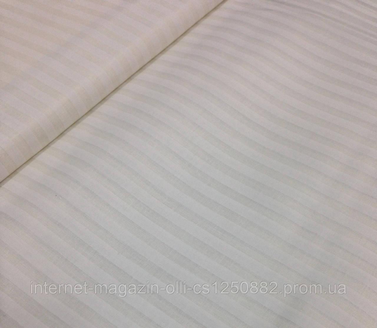 """Хлопковая ткань бязь """"атласная"""" полоска на белом шир. 2,2 м"""