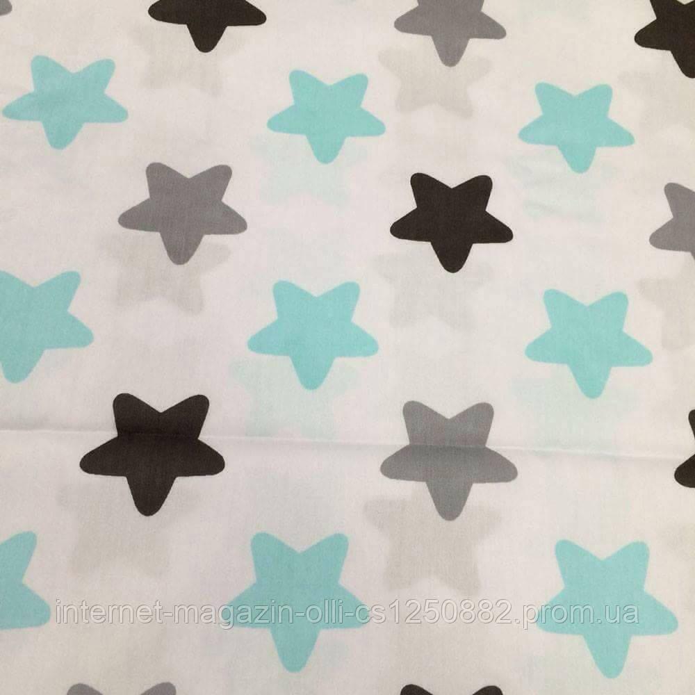 Хлопковая ткань Люкс звезды (пряники) крупные серо-черно- бирюзовые