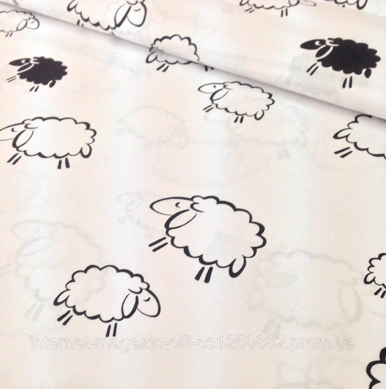 Хлопковая ткань польская овечки черно-белые