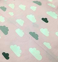 Хлопковая ткань облака бело-серые на розовом (КОРЕЯ)