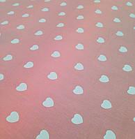 Хлопковая ткань сердца белые на розовом
