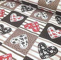 Хлопковая ткань польская сердца коричнево-красные