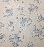 Хлопковая ткань польская мишки в голубом свитере