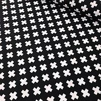 Хлопковая ткань белые крестики на черном