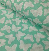 Хлопковая ткань польская бабочки на мятном