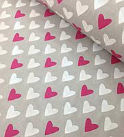 Хлопковая ткань польская сердца малиново-белые на сером