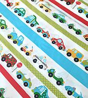Хлопковая ткань польская машинки с полосками разноцветными