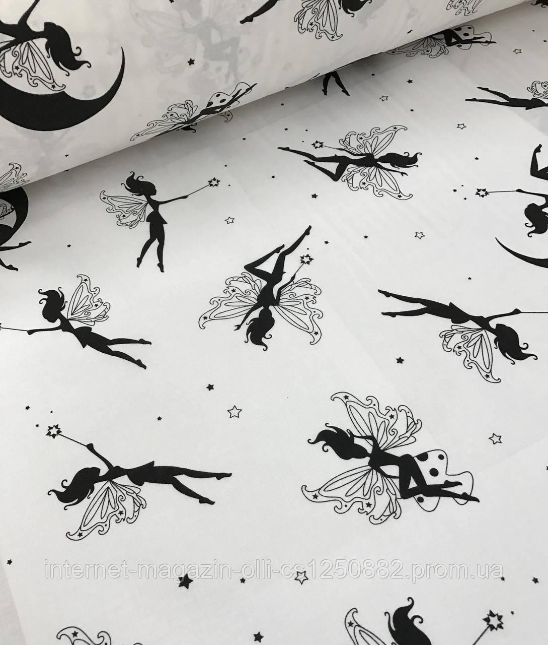 Хлопковая ткань польская феи черные на белом