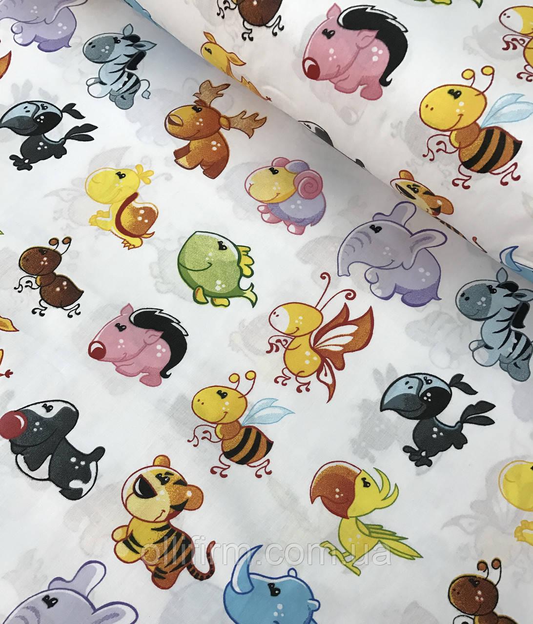 Хлопковая ткань польская зверята разноцветные