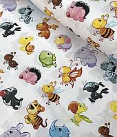 Хлопковая ткань польская зверята разноцветные, фото 1