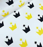 Хлопковая ткань польская короны желто-черные крупные на белом №624, фото 1