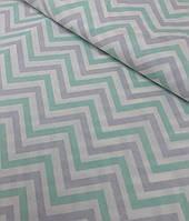 Хлопковая ткань польская зигзаги серо-мятные №530, фото 1