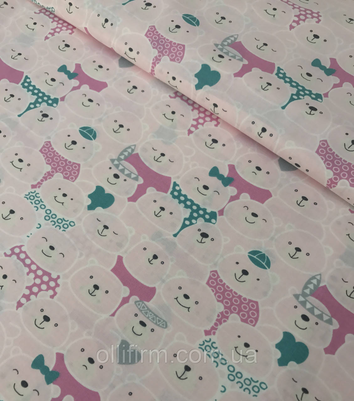 Хлопковая ткань польская мишки розово-белые №526