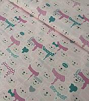 Хлопковая ткань польская мишки розово-белые №526, фото 1