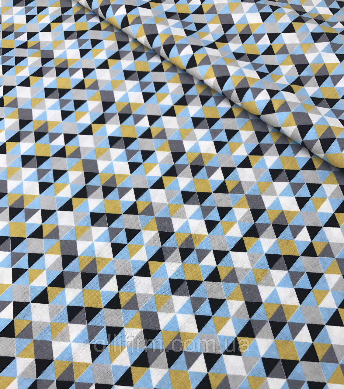 Хлопковая ткань премиум-класса треугольники желто-серо-черные №525