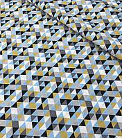 Хлопковая ткань премиум-класса треугольники желто-серо-черные №525, фото 1