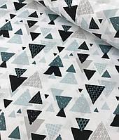 Хлопковая ткань польская шлифованная треугольники черно-бирюзовые на белом №508, фото 1