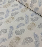Хлопковая ткань польская премиум класса перья серо-коричнево-голубые №503, фото 1